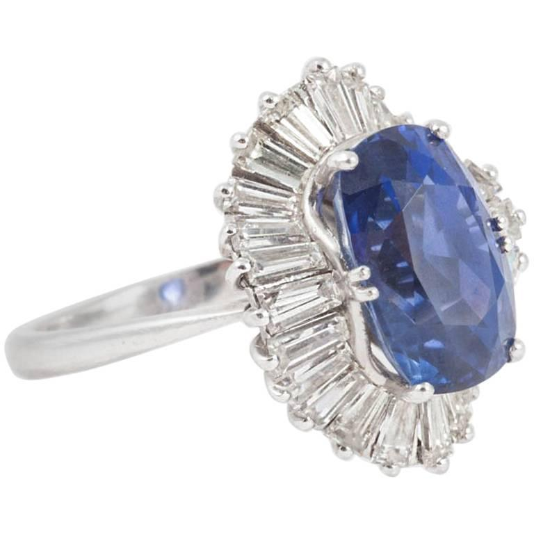 Natural Ceylon Blue Sapphire and Diamond Ballerina Ring
