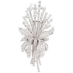 Platinum and Diamond Floral Spray Brooch