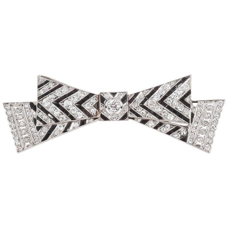 Art Deco Onyx and Diamond Bar Brooch