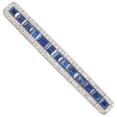 Art Deco Natural Sapphire and Diamond Barette Brooch