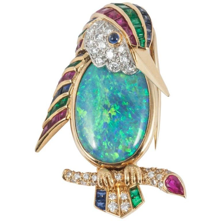 Opal, Mulit-Gem and Diamond Bird Brooch