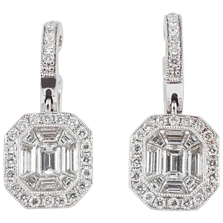 Rectangle Diamond Drop Earrings