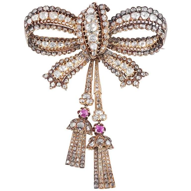 19th Century Diamond Bow Brooch