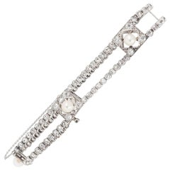 Edwardian Platinum, Diamond and Natural Pearl Bracelet