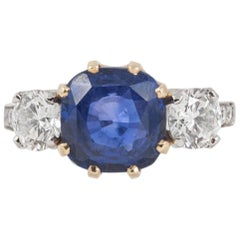 Natural Ceylon Sapphire and Diamond Three-Stone Engagement Ring