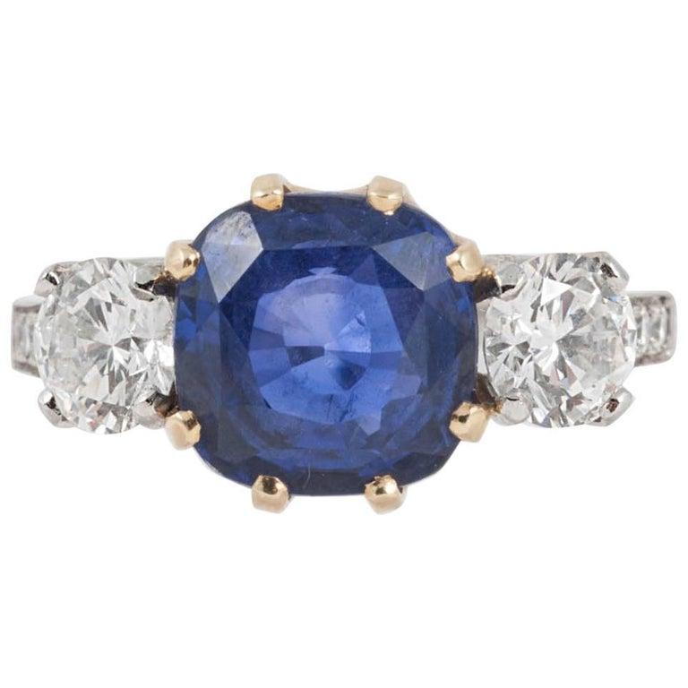 Natural Ceylon Sapphire and Diamond Three-Stone Engagement Ring