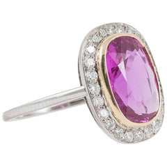 Natural No Heat 4.31 Carat Pink Sapphire Diamond Ring
