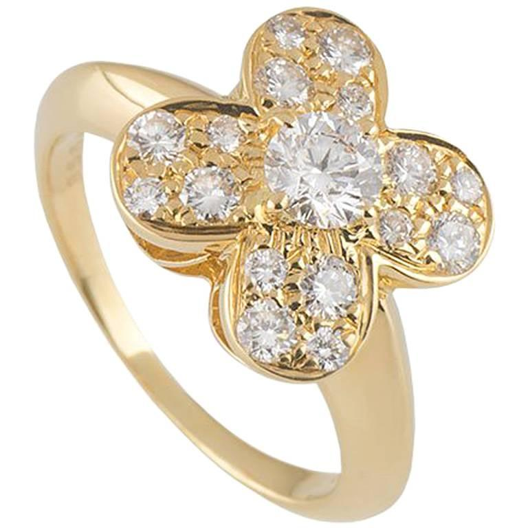 Van Cleef & Arpels Yellow Gold Diamond Alhambra Ring