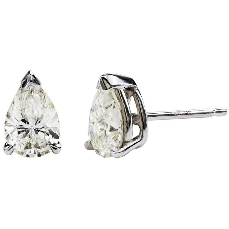 Pear Shape Diamond Stud Earrings For