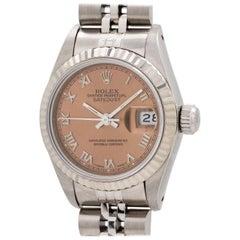 Rolex ladies white gold stainless steel Roman Rose Datejust wristwatch, c1991