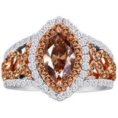 IGI Certified Natural Champagne Diamond Double Halo Two-Color Gold BridalRing