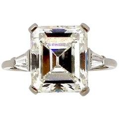 Midcentury 4.54 Carat GIA Certified Emerald Cut Diamond Engagement Ring