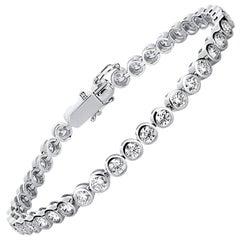 Carlos Udozzo Unisex Ladies and Men 18 Karat Gold Bezel Diamond Tennis Bracelet