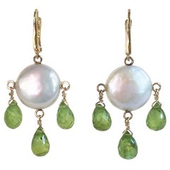 Coin Pearl and Peridot Drop Earrings with 14 Karat Gold by Marina J