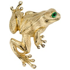 Yellow Gold Frog Brooch Lapel Pin with Diamond Toes and Tsavorite Eyes