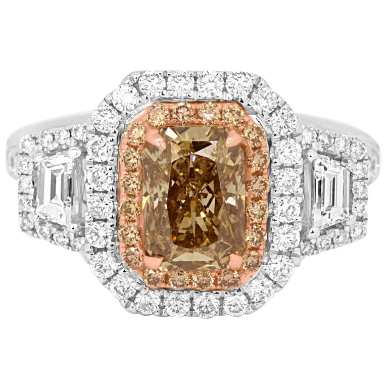 Certified Natural Champagne Diamond Double Halo Two-Color Gold Engagement Ring