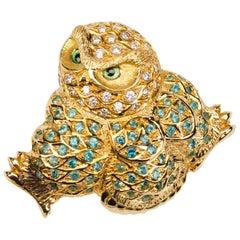 18 Carat Yellow Gold Paraiba Tourmaline and Diamond Owl Brooch