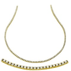 Carlos Udozzo, 14 Karat Yellow Gold Four Prongs Diamond Necklace