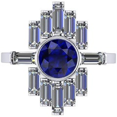 Ferrucci 1.34 Carat Blue Sapphire and Diamond Baguettes Platinum Ring