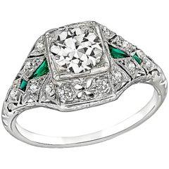 Vintage 0.70 Carat GIA Diamond Emerald Engagement Ring