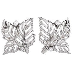 Waltham Diamond Platinum Leaf Earrings