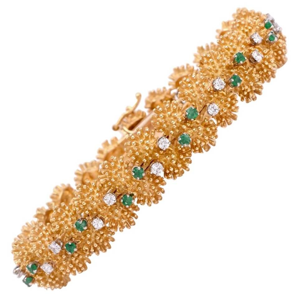 Vintage 1960s Diamond Emerald Gold Bracelet