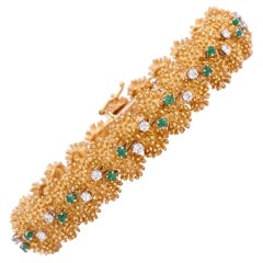 Vintage 1960s Diamond Emerald Gold Bracelet