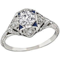Art Deco 0.65 Carat GIA Diamond Sapphire Engagement Ring