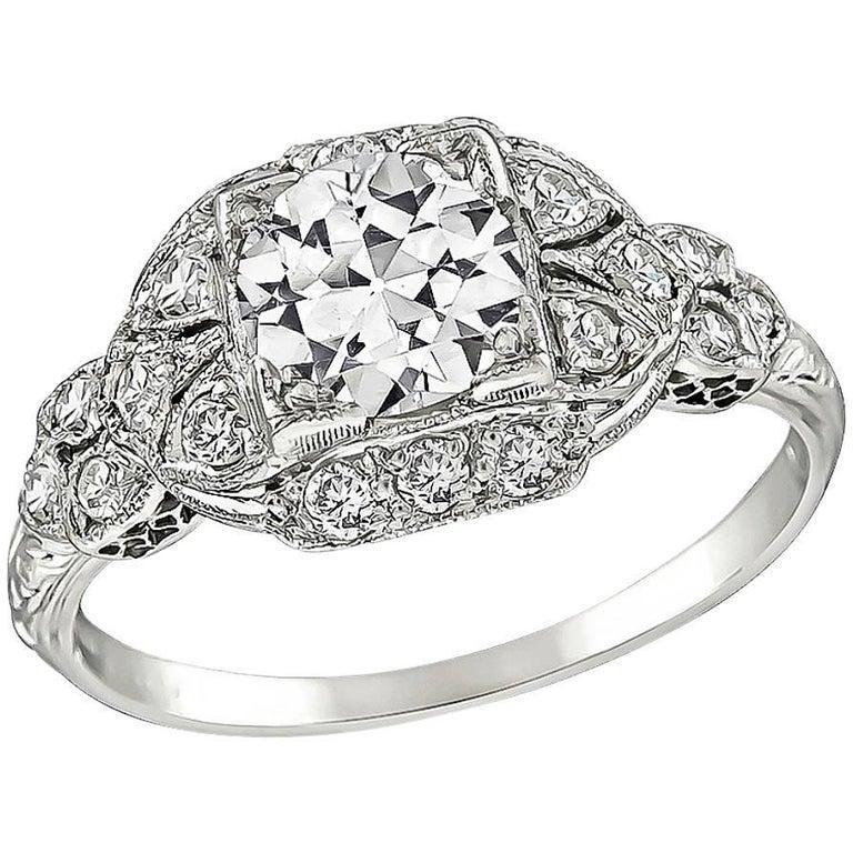 Vintage 1 Carat Old European Cut Diamond Engagement Ring