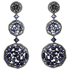 Iolite and Diamond Dangle Earring