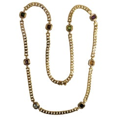 18 Karat Yellow Gold Multi-Color Semi Precious Color Stone and Diamond Necklace