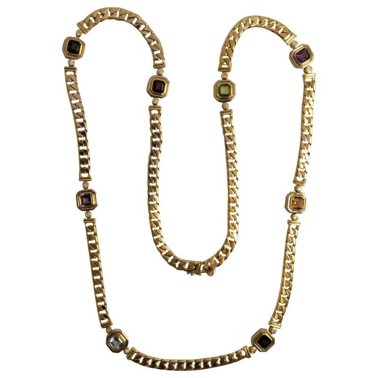 18 Karat Yellow Gold Multi-Color Semi Precious Color Stone and Diamond Necklace For Sale