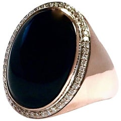 Black Onyx and Diamond Rose Gold Cocktail Ring