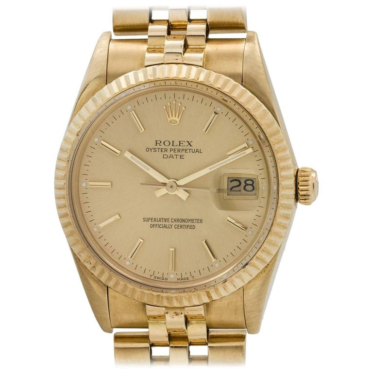 Rolex Yellow Gold Oyster Perpetual Date Wristwatch Ref 15037, circa 1986