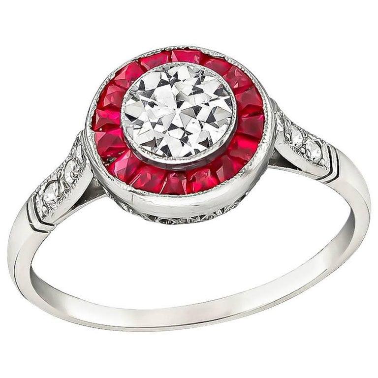 Charming 0.50 Carat Diamond Ruby Halo Ring