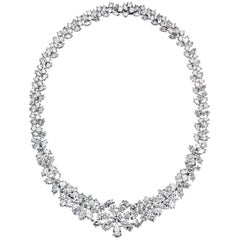 Estate Diamond Platinum 76 Carat Necklace
