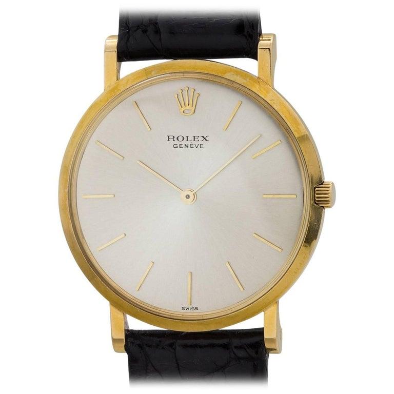 Rolex Yellow Gold Geneve Dress Model Manual Wristwatch, circa 1960s