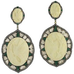 Beautiful Bird Cameo Earring with Diamonds and Emeralds