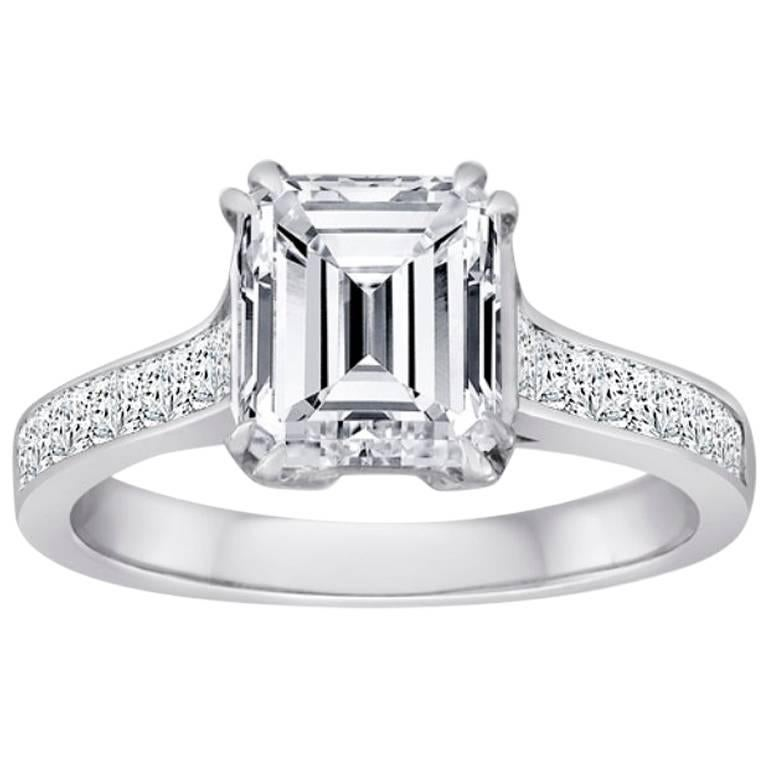 GIA Certified Emerald Cut Diamond 2.02 Carat Gold Engagement Ring