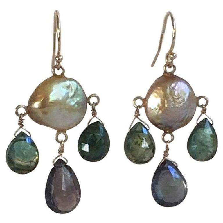 Green Tourmaline Drop and Coin Pearl Earrings with 14 Karat Gold Hooks, Marina J