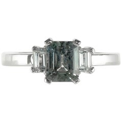 GIA Certified 1.42 Carat Blue Green Sapphire Diamond Engagement Ring