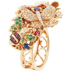 SAM.SAAB Butterfly Bouquet Motif in Yellow Gold with Multiple Colored Gems