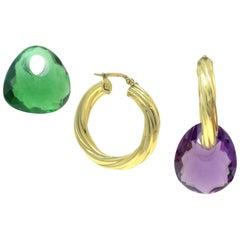 Yellow 18 Karat Gold and Green/Purple Quartz Hoop / Dangle Earrings