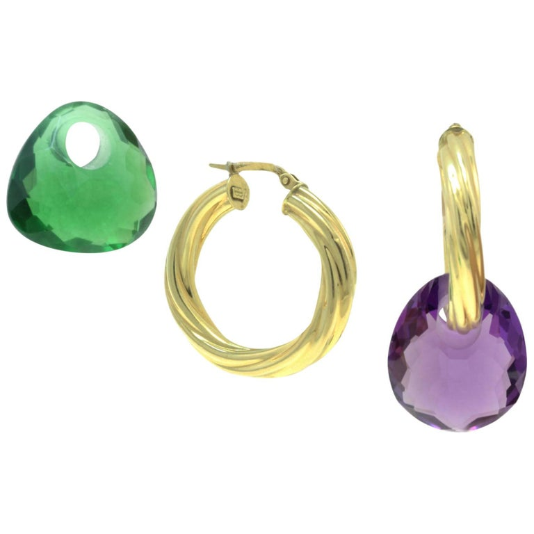 Yellow 18 Karat Gold and Green/Purple Quartz Hoop / Dangle Earrings