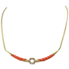 Yellow Gold Diamonds and Coral Choker Necklace