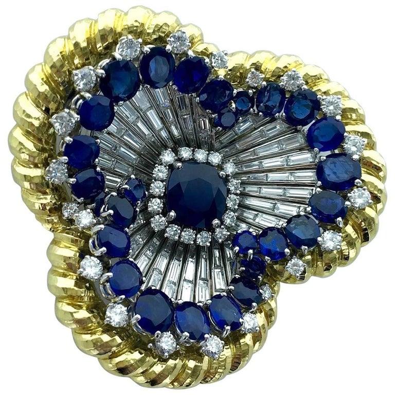 David Webb Sapphire Diamond Platinum and Gold Oversized Brooch Pendant