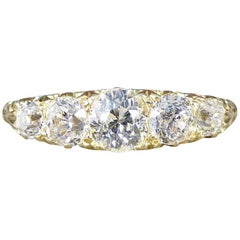 Late Victorian Antique Five-Stone Diamond Ring in 18 Carat Yellow Gold