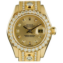 Rolex Ladies Yellow Gold Diamond Datejust Pearlmaster Automatic Wristwatch