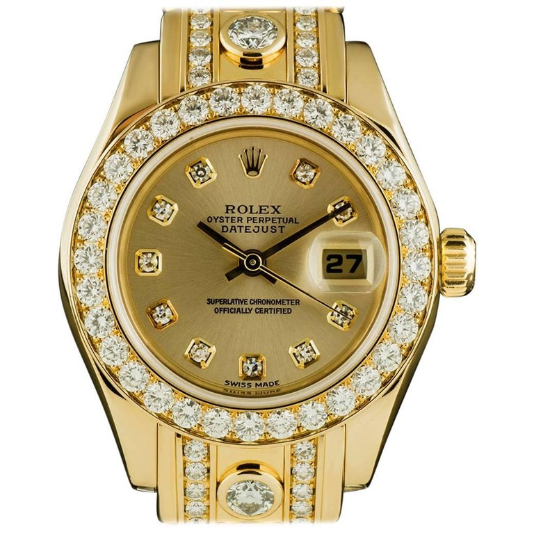 Rolex Ladies Yellow Gold Diamond Datejust Pearlmaster Automatic Wristwatch For Sale