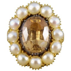 Mid-Victorian Antique Orange Topaz and Pearl 18 Carat Gold Statement Ring